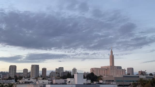 west los angeles city view with mormon temple. time lapse - westwood neighborhood los angeles stock videos & royalty-free footage