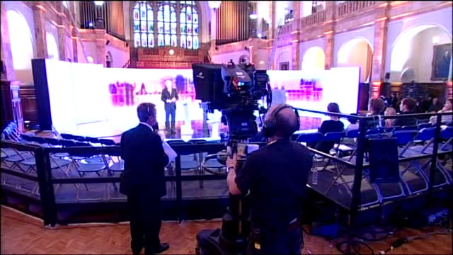 west midlands: birmingham: int shots of david dimbleby rehearsing on set - david dimbleby stock videos & royalty-free footage