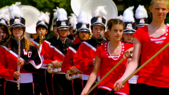 west ottawa color guard and marching band - marching band stock videos & royalty-free footage