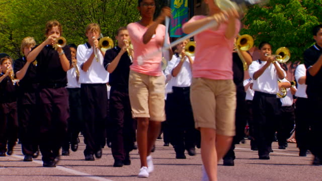 west ottawa middle school marching band and color guard - marching band stock videos and b-roll footage