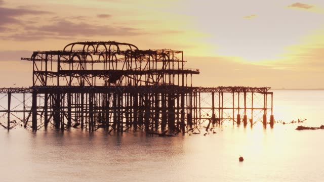 west pier ruins at sunset - 1975 stock videos & royalty-free footage