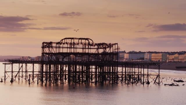west pier ruins, brighton - 1975 stock videos & royalty-free footage