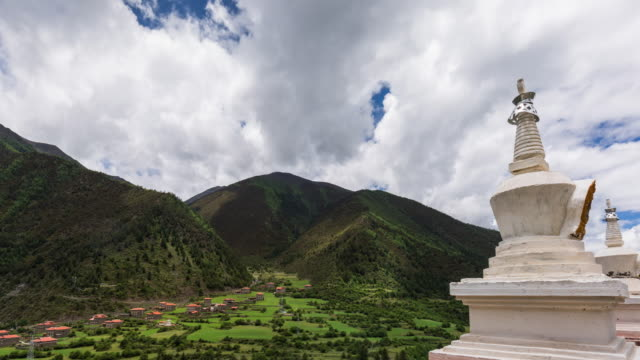 t/l ws ha zi west sichuan landscape scenery with buddhism architecture / kangding, sichuan - lamasery stock videos and b-roll footage