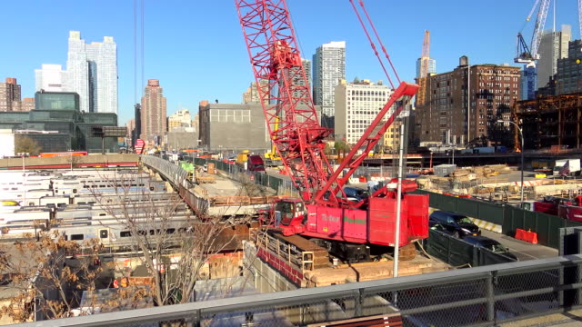 west side yard, hudson yards, new york city, 2015 - hudson river stock videos & royalty-free footage