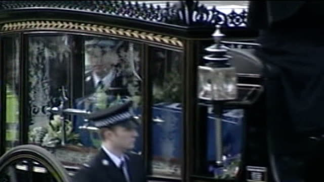 west yorkshire bradford ext various of funeral for pc sharon beshenivsky horsedrawn hearse coffin carried into church - pc sharon beshenivsky stock videos & royalty-free footage