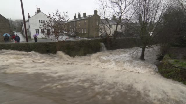 rescue workers save man trapped in his car west yorkshire fastflowing swollen river sheep on hillside vehicle driving through floodwater fastflowing... - ウェストヨークシャー点の映像素材/bロール