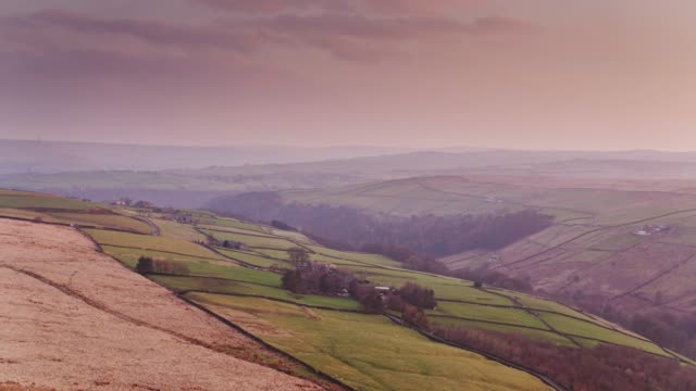 west yorkshire pennines at sunset - lancashire stock videos & royalty-free footage