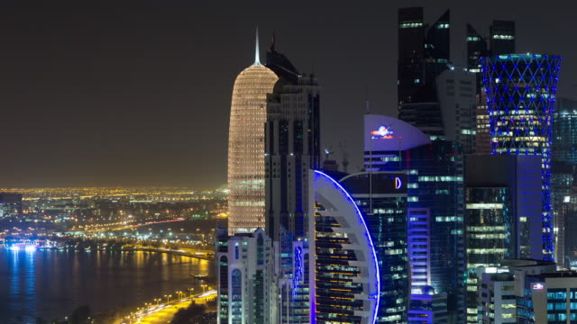 westbay, doha, qatar, time lapse - qatar stock videos & royalty-free footage