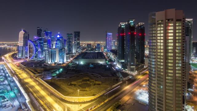 vídeos de stock e filmes b-roll de westbay, doha, qatar, time lapse - doha