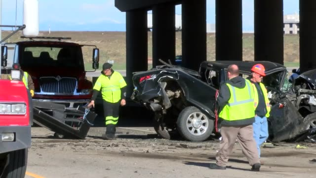 westbound lanes of interstate 70 were closed following an accident involving a semi truck that approached westbound traffic that was slowing or... - autostrada interstatale americana video stock e b–roll