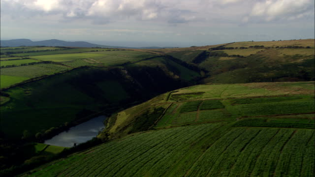 western edge of exmoor  - aerial view - england, devon, north devon district, united kingdom - devon stock videos & royalty-free footage