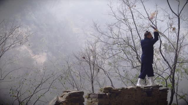 western kung fu disciple showing his sword skillsancient ruins in the wudang shan mountains. - カンフー点の映像素材/bロール