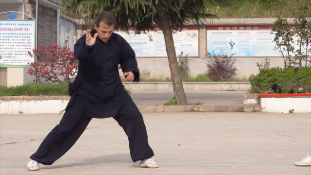 western kung fu disciple training in dragongate kung fu in wudang shan. - 使徒点の映像素材/bロール
