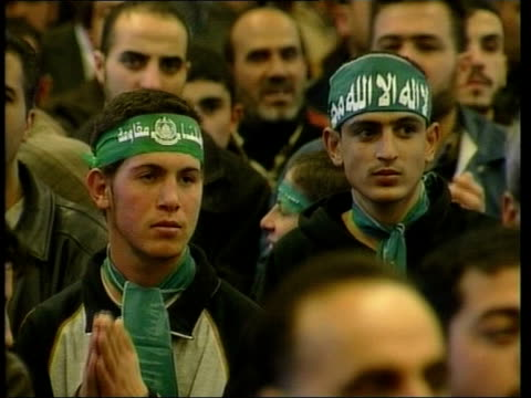 western leaders meeting on how to respond to hamas israel gaza int palestinian children along at meeting with hamas banners and flags young men at... - 2006 stock videos & royalty-free footage