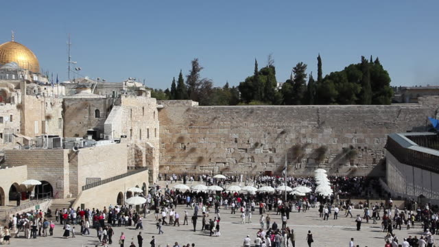 western wall courtyard, jerusalem, israel - gerusalemme est video stock e b–roll