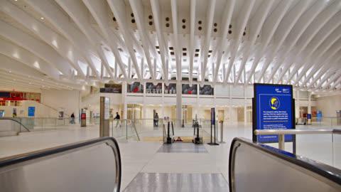 stockvideo's en b-roll-footage met westfield station. world trade center interior. grand transportation hub. illuminated clear clean station. - world trade center manhattan