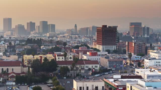 Westlake with Koreatown Skyline, Los Angeles - Aerial Establishing Shot