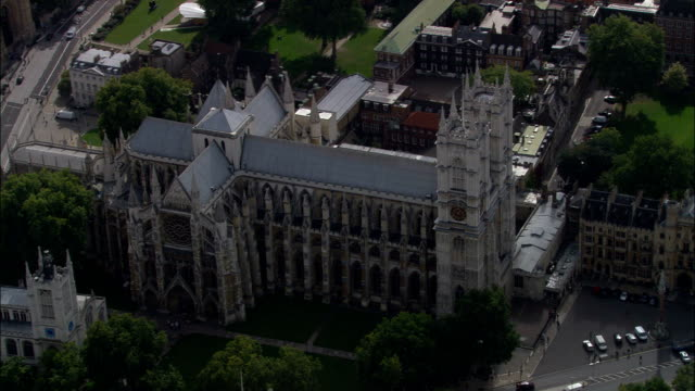 westminster abbey  - aerial view - england, greater london, city of westminster, united kingdom - coronation stock videos and b-roll footage
