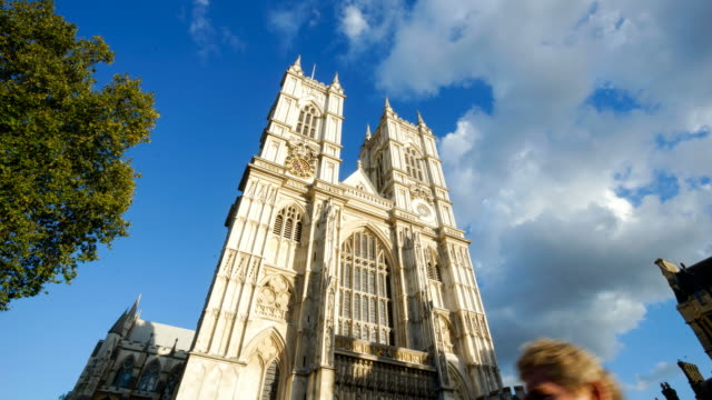 4K Westminster Abbey church facade, London time lapse