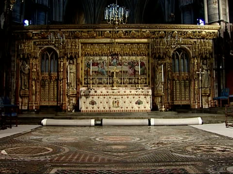 westminster abbey high altar redecorated to resemble queen's wedding day england london westminster abbey int chancel and high altar with altar... - altar stock videos & royalty-free footage