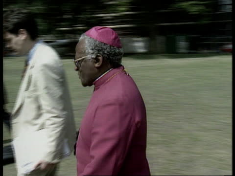 westminster abbey thanksgiving today england london westminster abbey ms s african vice pres thabo mbeki and white woman along and shake with cleric... - queen dowager stock videos and b-roll footage