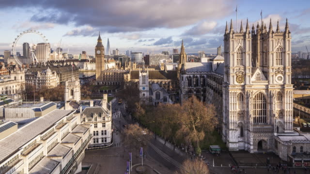 Westminster Abbey, the Houses of Parliament and London Eye in London, UK.