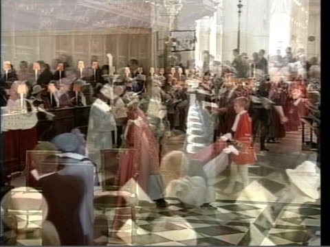 queen and prince philip wearing robes attending the annual service for the order of the british empire pan lms queen and prince philip processing... - order of the british empire stock videos and b-roll footage