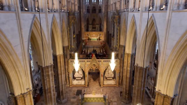 westminster abbey today releases a drone film for world architecture day which shows one of the world's most iconic buildings as it has never been... - westminster abbey stock-videos und b-roll-filmmaterial