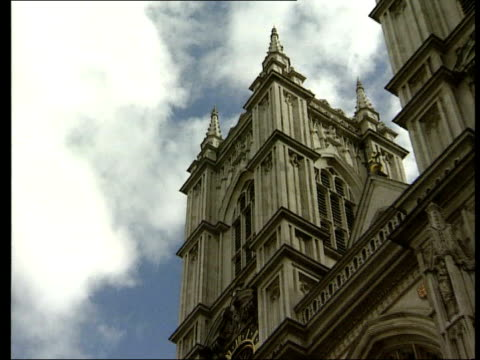 la westminster abbey zoom in tower various religious statues - abbey stock videos & royalty-free footage