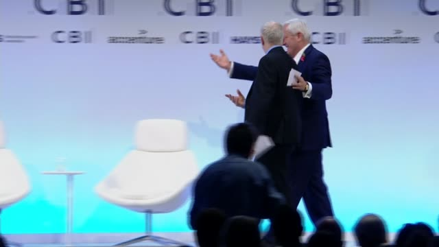All party meeting agrees on new safeguards in Parliament Greenwich CBI Conference INT Jeremy Corbyn MP along on stage Jeremy Corbyn MP speech SOT All...
