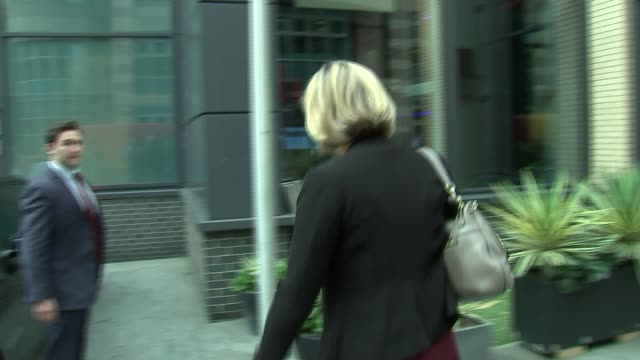 Amber Rudd doorstep ENGLAND London EXT Amber Rudd MP from hotel after addressing police conference and refusing to answer questions on the...