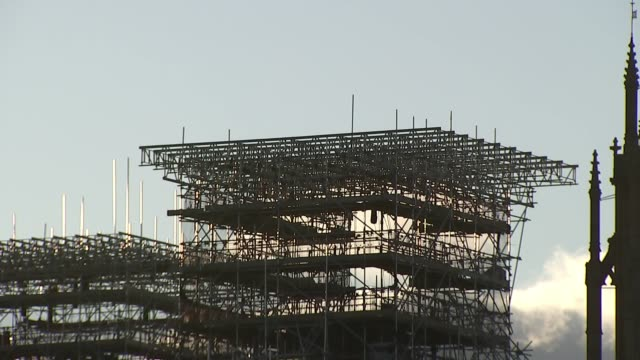 amber rudd welcomes 'clear out' as further allegations emerge england london westminster houses of parliament partly clad in scaffolding houses of... - scaffolding stock videos & royalty-free footage