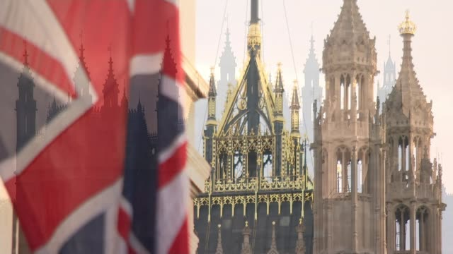Further allegations emerge London Westminster EXT Close shot Union Jack flag with top of Victoria Tower seen behind Westminster Palace towers...