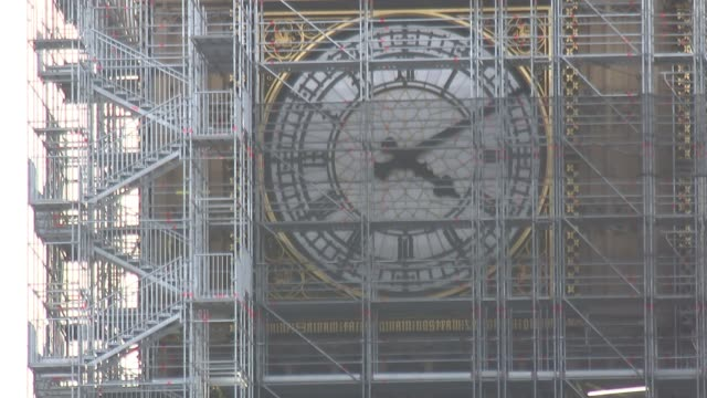 further allegations emerge westrminster big ben clock face covered by scaffolding wide shot houses of parliament seen from opposite side of river - scaffolding stock videos & royalty-free footage