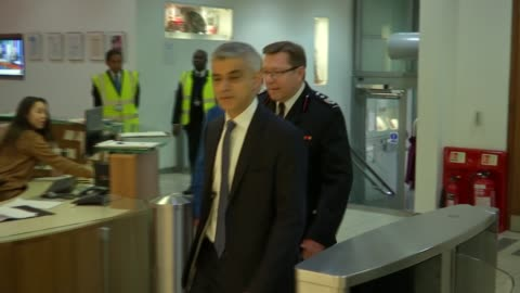 westminster attack aftermath: sadiq khan visits emergency services; england: london: int various shots of sadiq khan shaking hands as touring london... - emergency planning stock videos & royalty-free footage