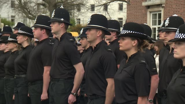 funeral of pc keith palmer westminster attack funeral of pc keith palmer england devon exeter ext police officer blowing whistle sot various shots of... - trillerpfeife stock-videos und b-roll-filmmaterial