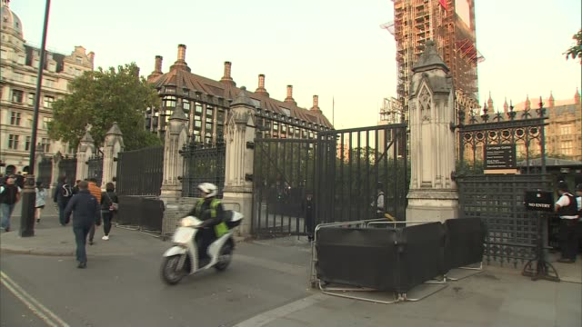 Inquest concludes all five victims died unlawfully ENGLAND London Westminster EXT 'Carriage Gates' sign on railings Moped along from gates Gates...