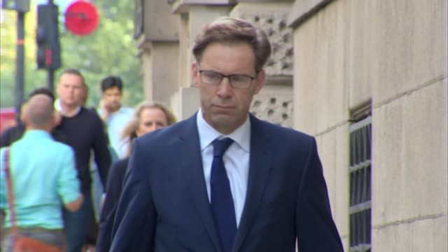 westminster bridge attack inquest: mp tobias ellwood gives testimony; england: london: the old bailey: ext tobias ellwood mp along to court - リチャード・パロット点の映像素材/bロール
