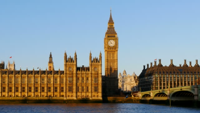 westminster bridge with houses of parliament and big ben, london, south england, great britain - big ben stock videos & royalty-free footage