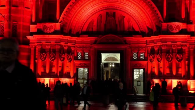 westminster cathedral is lit with red light as part of an initiative by catholic charity aid to the church in need called #redwednesday to focus on... - road signal stock videos & royalty-free footage