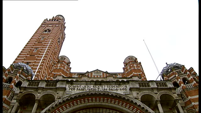westminster cathedral structural damage; england: london: westminster cathedral: ext general views of westminster cathedral including appeal sign... - westminster cathedral stock videos & royalty-free footage