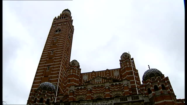 westminster cathedral structural damage; ext general views of westminster cathedral including brickwork tower - westminster cathedral stock videos & royalty-free footage
