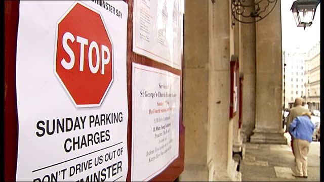 Westminster Council considers new parking charges ENGLAND London City of Westminster EXT Car parking on single yellow line 'Stop Sunday Parking...