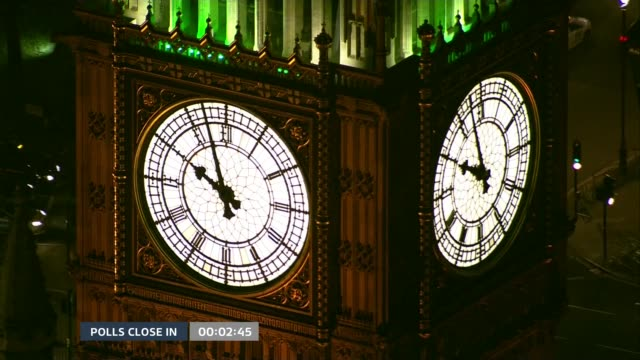 special 2155 2300 westminster ext big ben as time approaches 1000 pm - general election stock videos & royalty-free footage