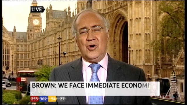 1330 1430 westminster ext michael howard live interview on cameron's position sot - ジュリー エッチンガム点の映像素材/bロール