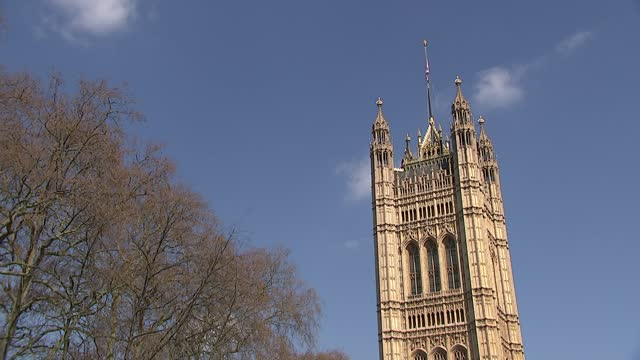 westminster general views; england: london: westminster: ext various shots of houses of parliament and victoria gardens, including trees, victoria... - politics stock videos & royalty-free footage