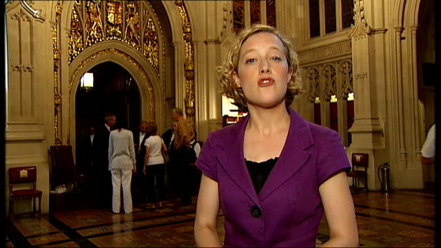houses of parliament int elaborate ceiling in lobby tilt down to reporter to camera baroness prosser interview sot we stand for dignity and respect... - alan sugar stock videos and b-roll footage
