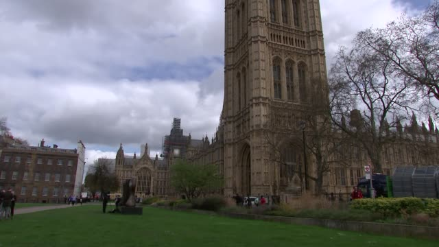Westminster Palace general views / MPs arrive for Syria debate ENGLAND London Westminster EXT Big Ben clock face with scaffolding and no hands /...