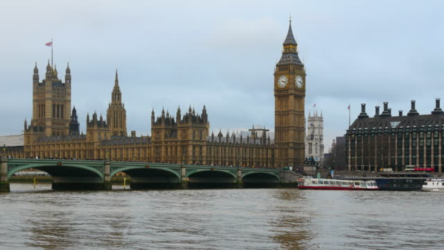 westminster palace with westminster bridge and big ben, london, england - westminster bridge stock videos and b-roll footage