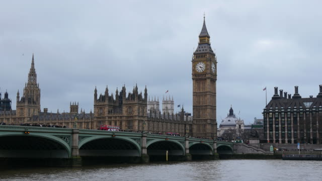 westminster palace with westminster bridge and big ben, london, england - overcast stock videos & royalty-free footage